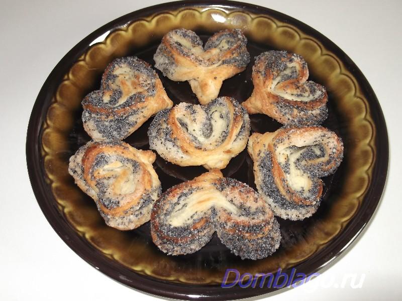 Печенье из слоеного теста «Маковые сердечки». Рецепт с фото.