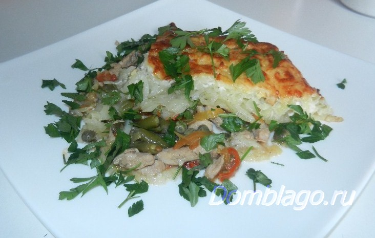 Запеченное куриное филе с овощами. Рецепт с фото.