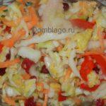 Маринованный овощной салат с капустой, просто пальчики оближешь. Рецепт с фото.